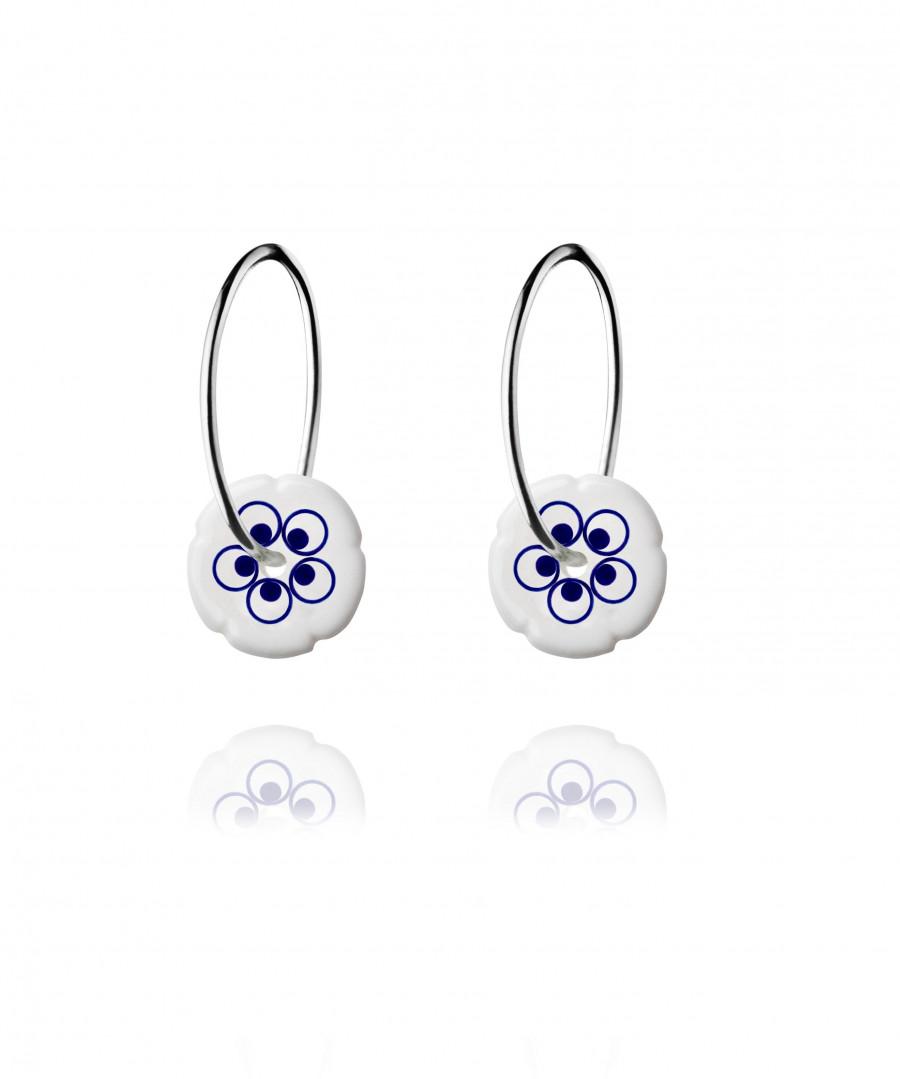 flower hoops mini silver