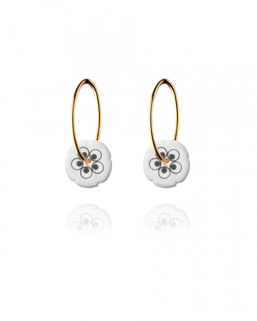 flower hoops mini gold