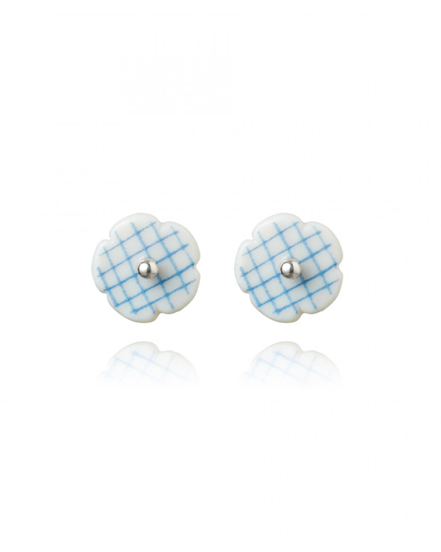 stripes studs mini check-blue