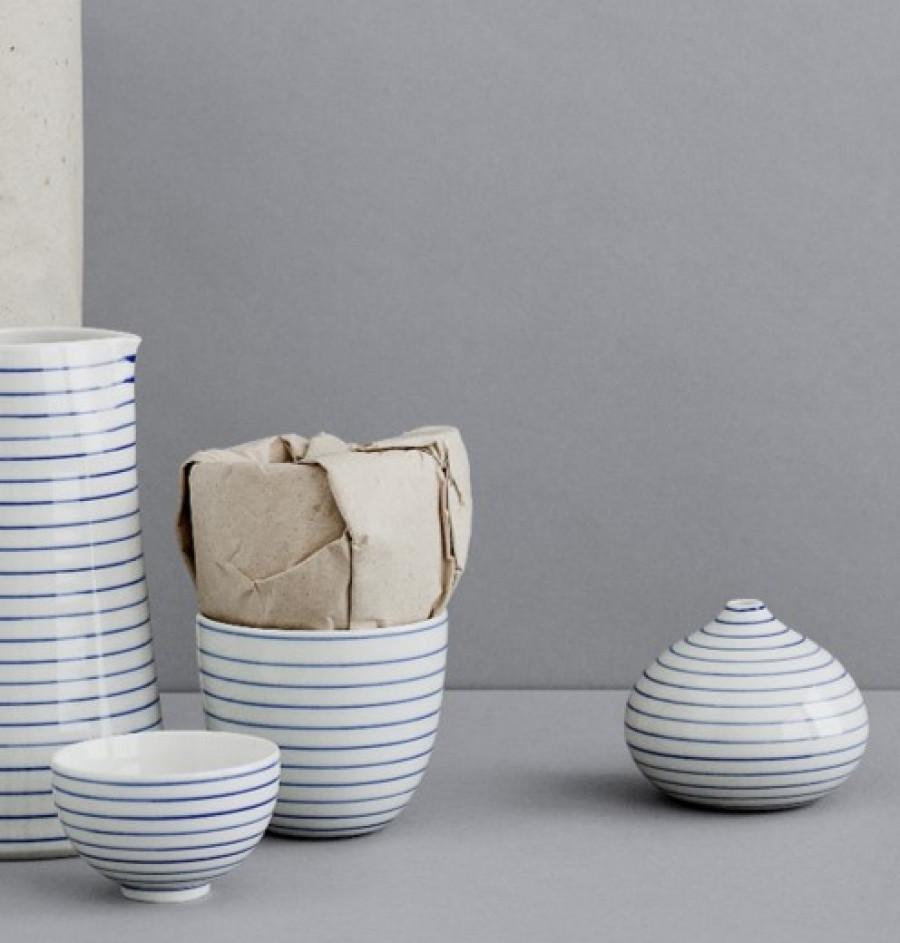 stripes drop vase tall narrow-blue