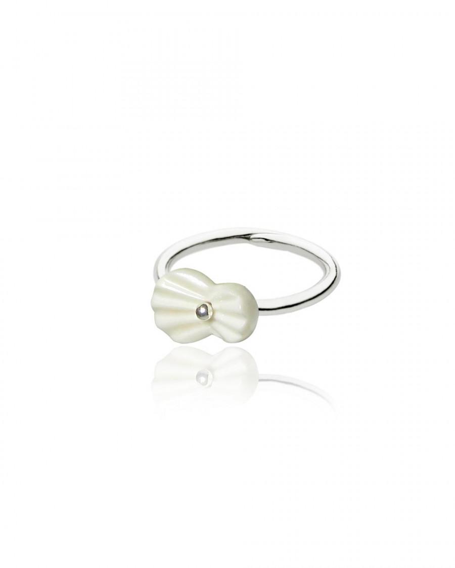 pleats finger ring-white