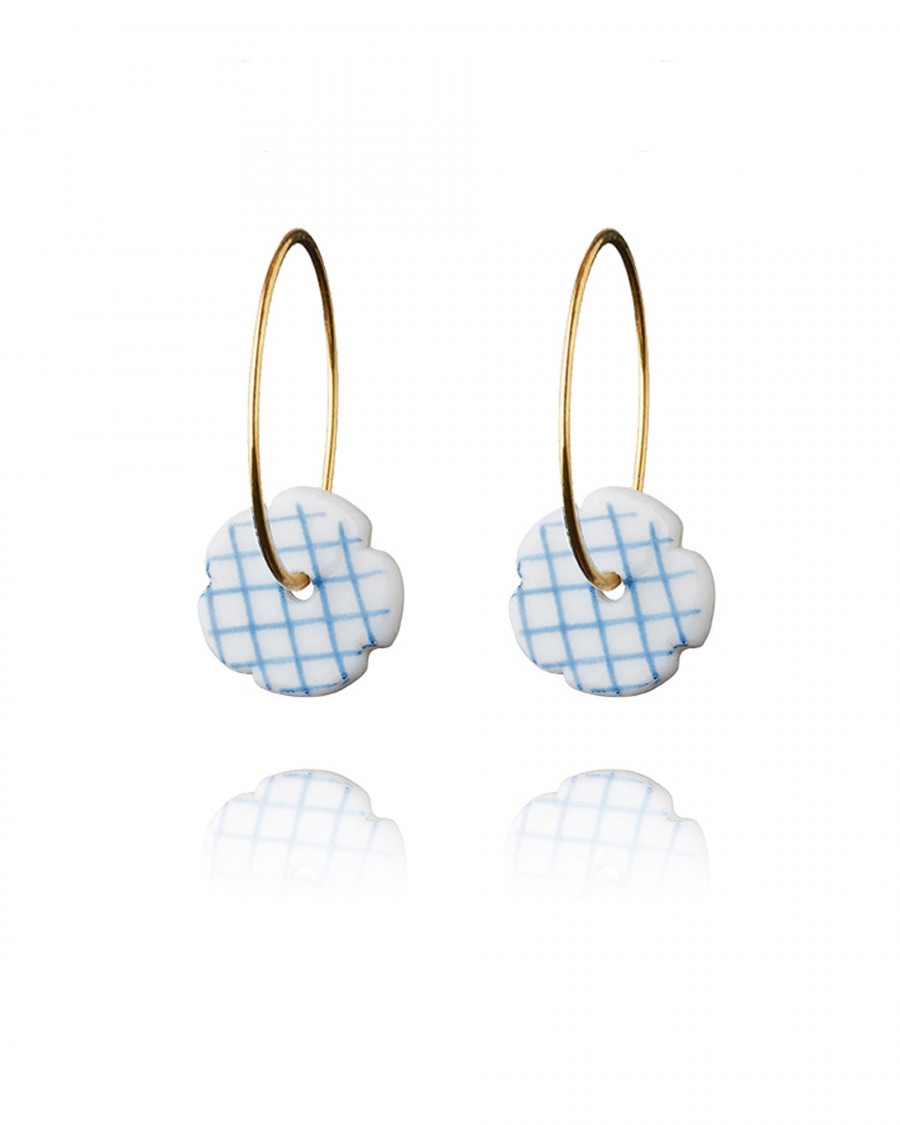 stripes hoops gold check-blue