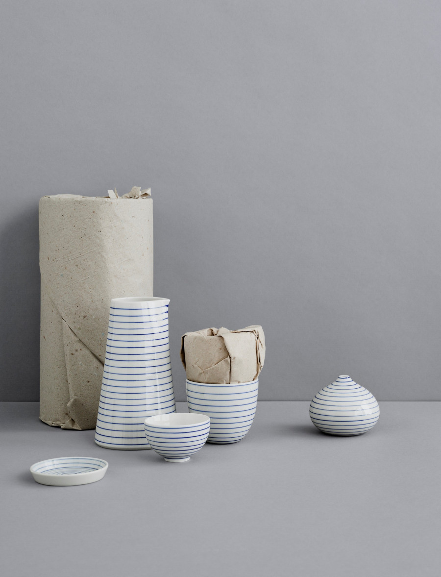 stripes bowl narrow-blue